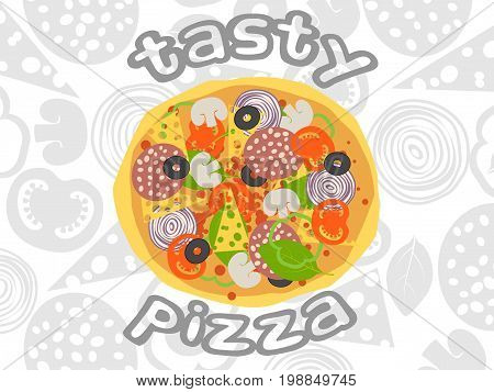 Pizza Top View On White Ingredients Background. Italian Whole Pizza With Salami, Cheese, Mushroom, O