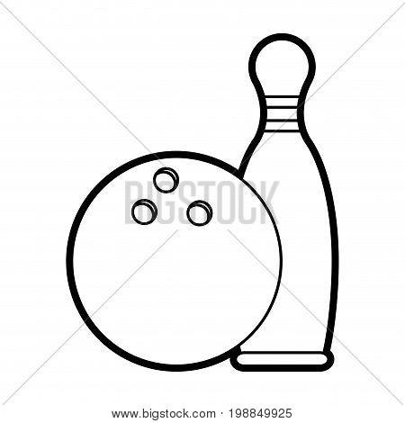 bowling pins and ball icon image vector illustration paint