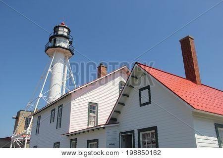 The Whitefish Point Lighthouse on the coast of Lake Superior.  Upper Peninsula of Michigan