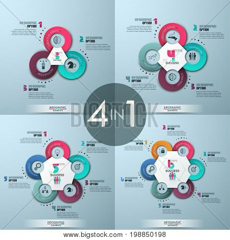 Set of 4 modern infographic design layouts. Four round diagrams - colorful circles with icons, white polygonal central element and numbered text boxes. Vector illustration for presentation, brochure.