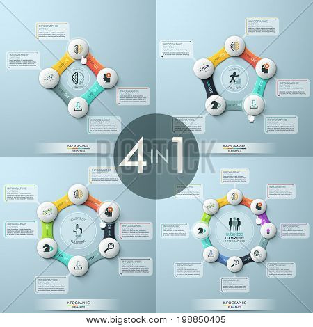 Bundle of 4 modern infographic design templates. Four round diagrams with links combined to closed circular chains, central element, icons and text boxes. Vector illustration for presentation, banner.