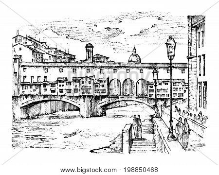 landscape in European town Florence in Italy. engraved hand drawn in old sketch and vintage style. historical architecture with buildings, perspective view. Travel postcard. Ponte Vecchio bridge