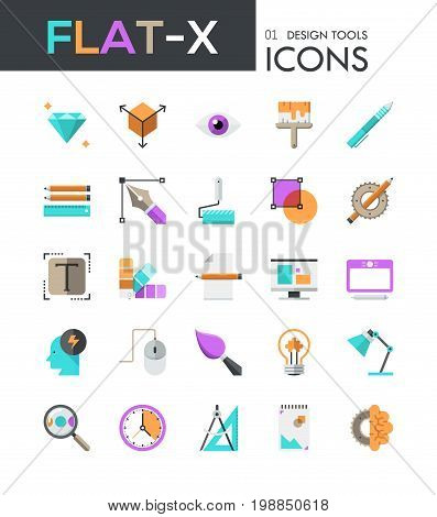 Collection of 25 modern multicolored pictograms in flat style - design and drawing tools, color palettes, 3d modeling, digital illustration, electronic devices. Vector illustration for website.