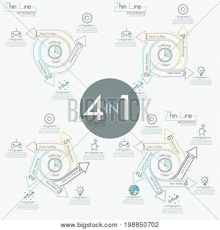 Set of 4 modern infographic design layouts. Four round diagrams with spiral arrow-shaped elements, icons and text boxes. Circular timeline concept. Vector illustration in thin line style for website.