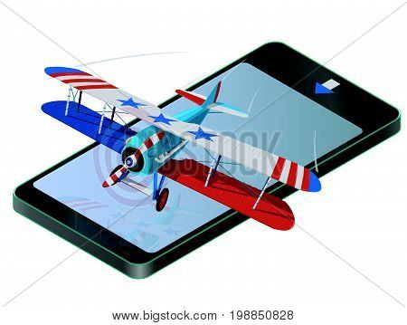 Biplane from World War on mobile phone with colors of flag of United States. Model aircraft propeller with two wings. Old retro aircraft designed for poster. Realistic vector of flying biplane.