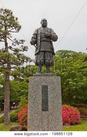 OKAZAKI JAPAN - MAY 31 2017: Statue of Tokugawa Ieyasu in Okazaki Castle Japan. Ieyasu (1543-1616) was samurai and first shogun of Edo shogunate which effectively ruled Japan for 250 years