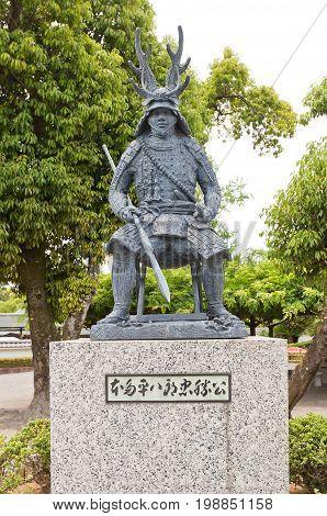 OKAZAKI JAPAN - MAY 31 2017: Statue of Honda Tadakatsu in Okazaki Castle Japan. Tadakatsu (1548-1610) was samurai and one of four trusted generals of shogunTokugawa Ieyasu