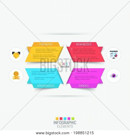Infographic design template with 4 colorful text boxes and pictograms. SWOT-analysis, company's strengths, weaknesses, threats, opportunities. Structured planning method concept. Vector illustration.