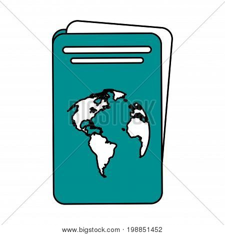 passport with planet on cover icon image vector illustration design