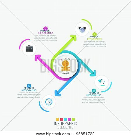 Infographic design layout - 4 spiral arrows swirling around central round element and pointing at pictograms and text boxes. Four steps to success concept. Vector illustration for report, brochure.