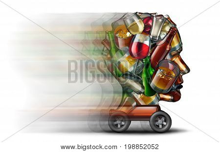 Drinking and driving impaired and a driver under the influence of alcohol as a road safety danger and highway health risk as a group of bottles and glasses of liquor shaped as a human head speeding on wheels as a 3D illustration.