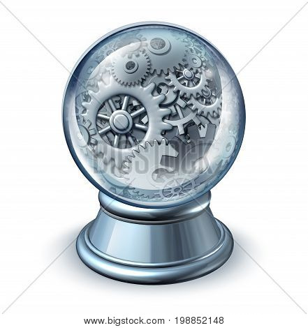 Business forecasting and forecast industry symbol concept and future economic or economy development as a crystal ball with machine gears and cog wheels inside the magical glass as a 3D illustration.