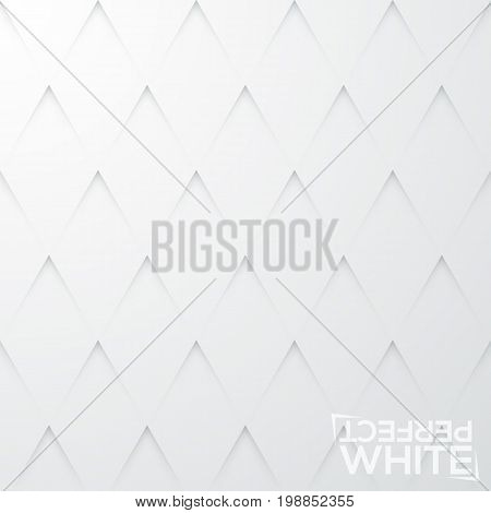 Seamless pattern with triangular slits on plain paper. Backdrop with angular cuts on white sheet. Abstract background with geometric elements. Vector illustration for website, wallpaper, fabric print.