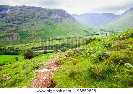 Wasdale views on the path to Scafell pike, the highest mountain in England, Lake District National Park, England, selective focus