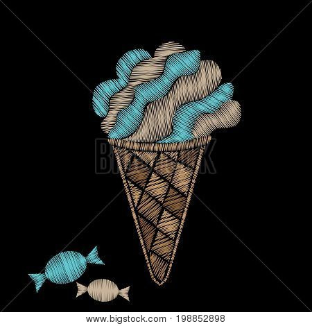 Ice cream with candy embroidery stitches imitation. Fashion embroidery ice cream on black background. Embroidery food vector.
