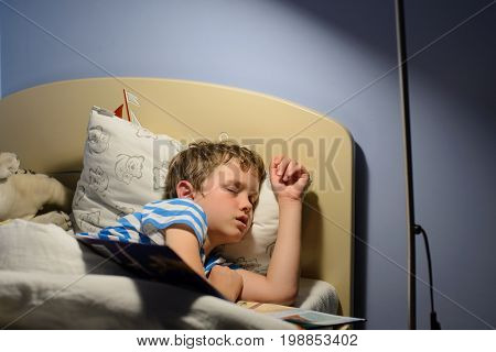 Tired Little Boy Child Fell Asleep