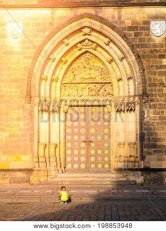 Gothic style entrance portal of Basilica of Saint Peter and Paul in Vysehrad, Prague, Czech Republic.