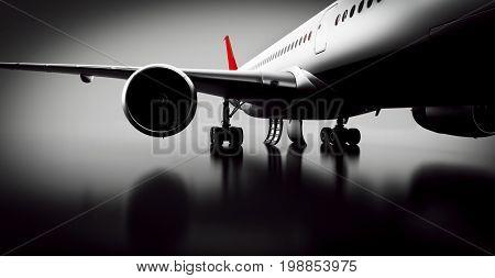 Passenger airplane in studio or hangar. Aircraft, airline transportation industry. 3D illustration