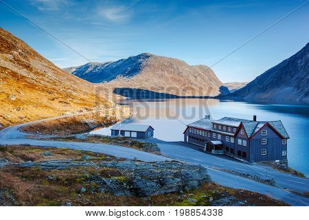 a hotel on Djupvatnet lake in Norway