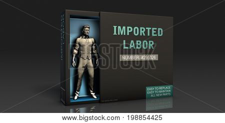 Imported Labor Employment Problem and Workplace Issues 3D Illustration Render