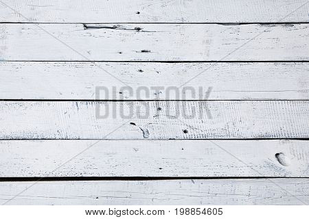 White and Blue Wood Plank as Background. White Wooden Texture Table. Top View