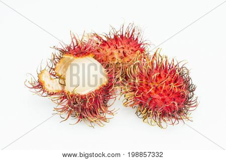 Rambutan isolated on white background sweet delicious natural ripe fruit with prickly spiky red outer peel looks like lychee