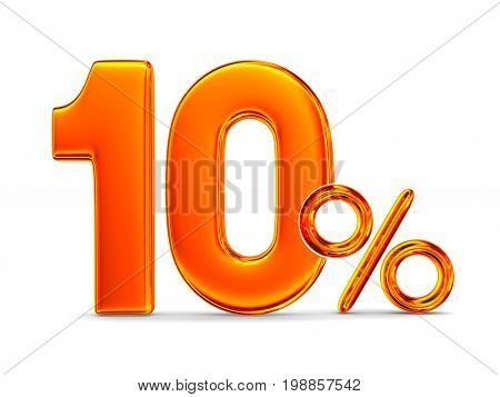 Ten percent on white background. Isolated 3D illustration
