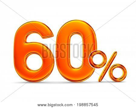 Sixty percent on white background. Isolated 3D illustration