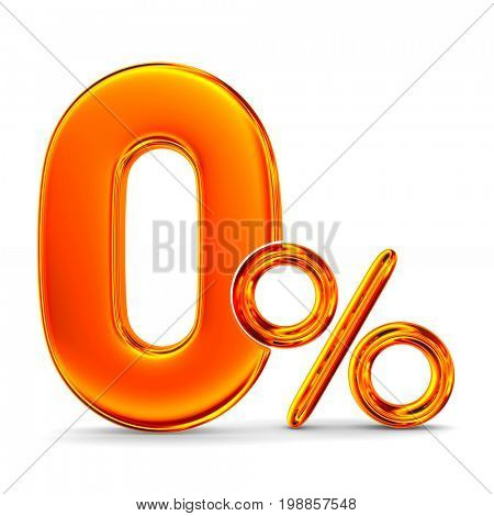 Zero percent on white background. Isolated 3D illustration