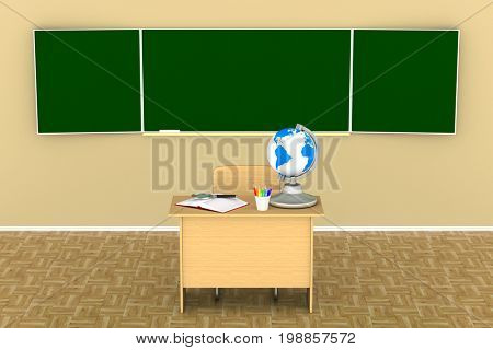 classroom for lessons and training. 3d illustration
