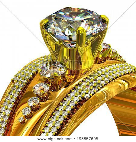 Engagement gold ring with gem. Cropped shot of luxury jewellery bijouterie with gemstone for people in love. Radiance of large number of precious stones. Frontal view on isolated. 3D rendering.
