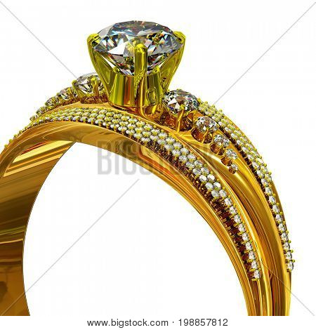 One engagement gold ring with gem. Cropped shot of luxury jewellery bijouterie with gemstone for people in love. Radiance of large number of precious stones. Frontal view on isolated. 3D rendering.