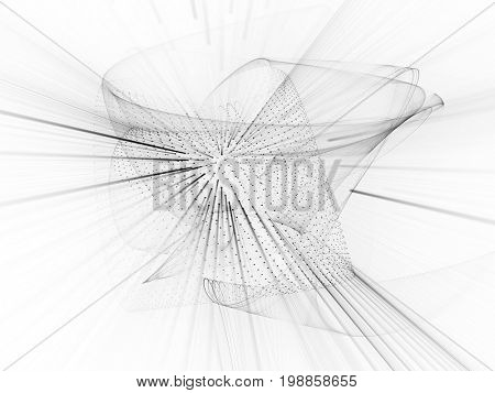 Abstract background element. Fractal graphics series. Curves, blurs and twisted grids composition. Black and white.