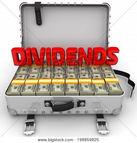 Dividends. A suitcase filled with packs of American dollars with red word
