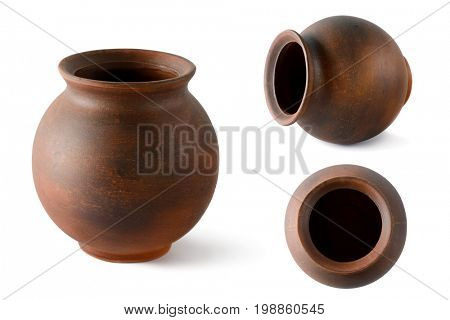 Collection clay pots isolated on white. Ceramic tableware. Side view and top.