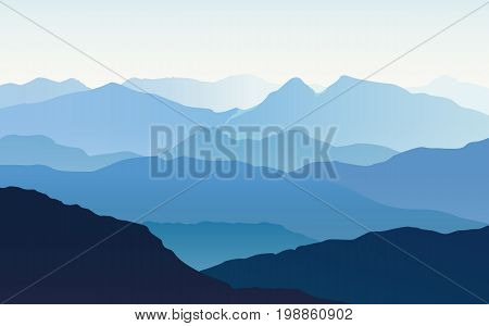 Vector landscape with blue silhouettes of hills and mountains with light blue sky