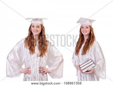 Woman student isolated on white