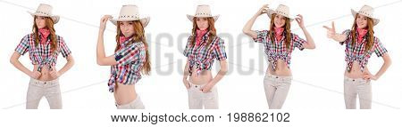 Redhead cowgirl isolated on white