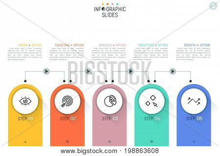Infographic design layout, 5 numbered rounded elements containing pictograms and connected by lines with play buttons and text boxes. Five steps to project completion concept. Vector illustration.