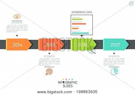 Infographic design layout. Horizontal timeline, 4 elements indicating year and connected with icons, text boxes, bar chart. Company development progress concept. Vector illustration for website.