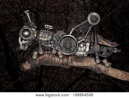 Steampunk style grasshopper. Mechanical animal photo compilation