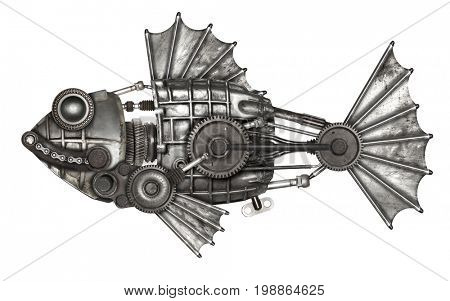 Steampunk style fish, european perch (Perca fluviatilis). Mechanical animal photo compilation
