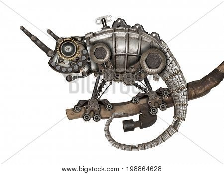 Steampunk style lizard. Mechanical animal photo compilation