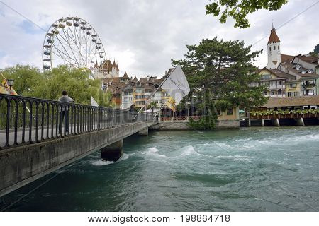 Thun, Aare in Thun city and river- Aare, Switzerland - 23 july 2017n Switzerland