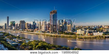 BRISBANE, AUSTRALIA - August 05 2017: Panoramic areal image of Brisbane CBD and South Bank. Brisbane is the capital of QLD and the third largest city in Australia