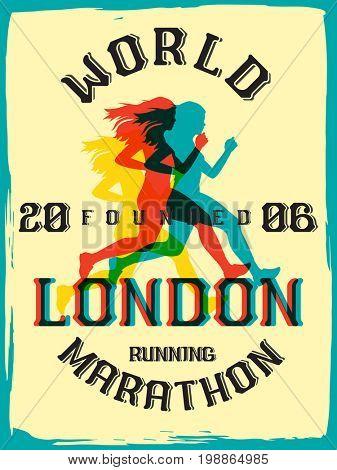 World marathon series retro poster. London marathon running. Vintage custom typeface.