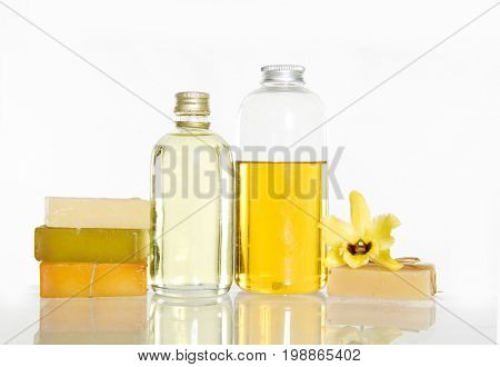 Spa set with yellow orchid ,stacked soap ,oil, candle