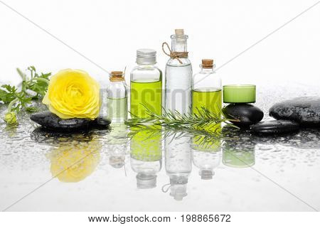 Yellow ranunculus with black stones ,oil in bottle ,fern on wet background