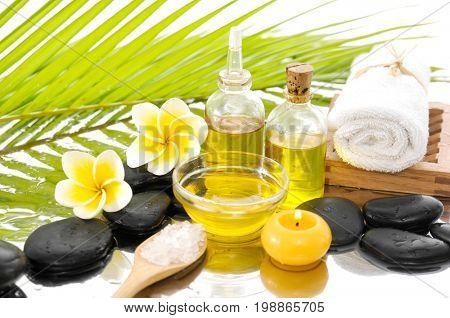 Spa Background with frangipani, palm leaf