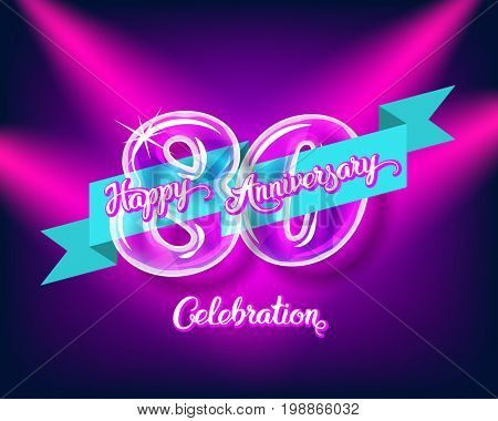 Happy 80th anniversary. Glass bulb number with ribbon and party decoration on the colorful background